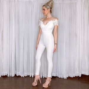 iris Pants - Off Shoulder Lace Fitted Pants Jumpsuit